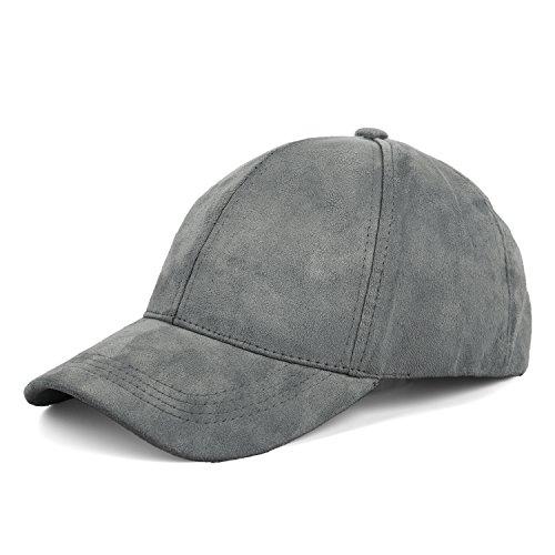 JOOWEN 6 Panel Faux Suede Leather Classic Adjustable Baseball Cap (Ash Grey)