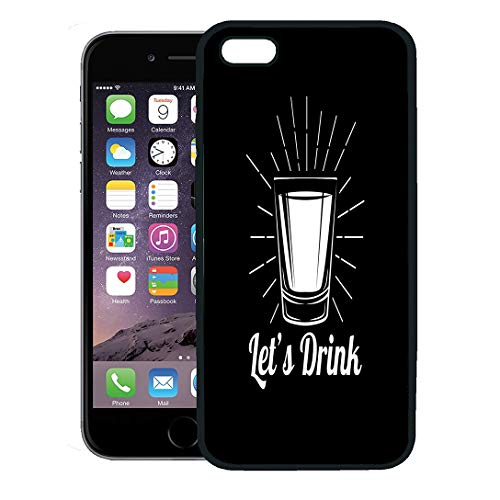 Semtomn Phone Case for iPhone 8 Plus case,Gray Shot Whiskey Drinking Glass Alcohol White Drunk Label Rum Vodka iPhone 7 Plus case Cover,Black