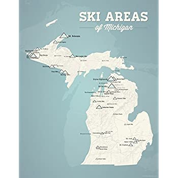 Skiing In Michigan Map.Amazon Com Michigan Ski Resorts Map 11x14 Print Beige Opal Blue