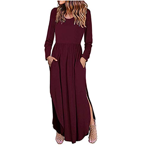 Toimothcn Women Loose Split Waist Swing Dress Long Sleeve Casual Floor Length Maxi Long Dresse(Wine,S) -