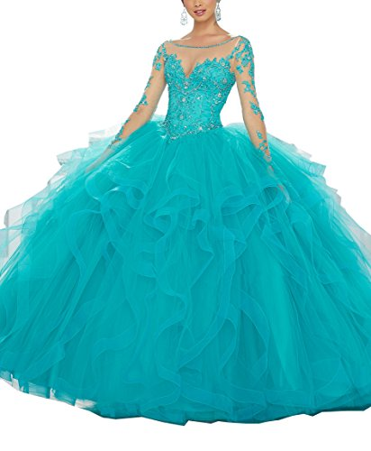Meledy Women's Scoop Beaded Lace Long Sleeves Sweet 16 Appliques Ball Gown 2017 popular Quinceanera Dresses for Teens Blue (Pretty Dresses For Teens)