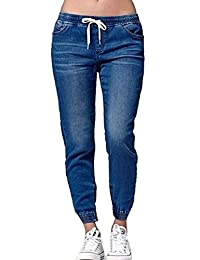 8ebd3bbbe9aa Vemubapis Women Joggers Jeans Strappy Stretchy Waist Long Denim Pants