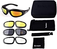 kemimoto Polarized Motorcycle Glasses, Riding Goggles with 4 Lens Kit for Outdoor Activities