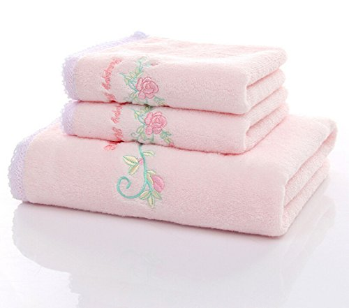 Ustide 3-piece Pink Emboridered Rose Lace Bath Towels Set