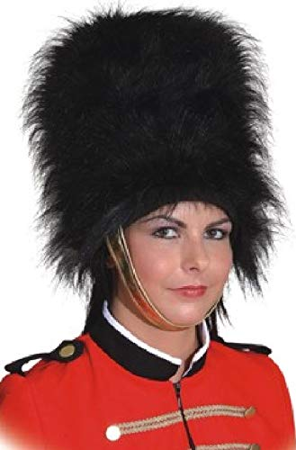 Adults Mens Ladies Black Fluffy Busby Guard English Queens Guard Fancy Dress ()