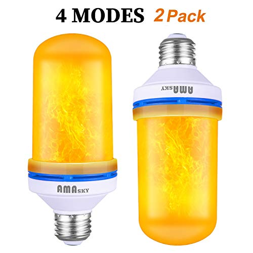 LED Flame Effect Light Bulb,4 Modes Flickering Flame Light Bulbs,Simulated Decorative Light Atmosphere Lighting Vintage Flaming Light Bulb for Christmas Halloween Holiday Party Decoration (2 Packs) -