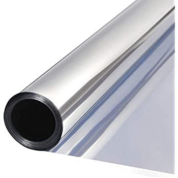 bofeifs(23.6 Inch x 7.54Feet One Way Window-Film Mirror Film Reflective Window Film Self-Adhesive Solar Control Glass Film,Silver