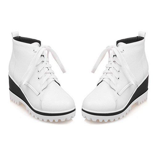 AllhqFashion Damen Hoher Absatz PU Leder Rein Schnüren Stiefel Weiß