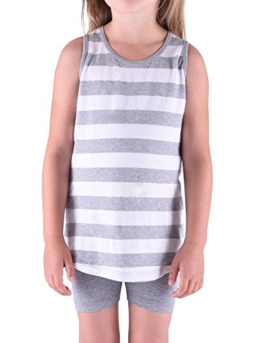 Colored Organics Girls' Organic Toddler Lexi Racer Tank Shirt- White / Heather Grey - 4T