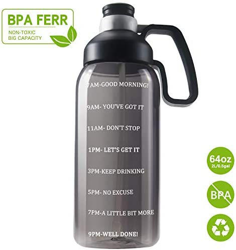 64 OZ Water Bottle with Straw, Motivational Water Bottle with Time Marker Clear Large Water Bottle with Handle, 2L Sports Water Bottle BPA Free Wide Mouth Water Jugs for Gym, Kitchen, Working