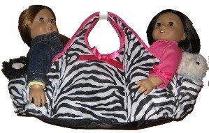Zebra Striped Doll Tote Carrying Bag Holds 2 18 Inch American Girl Dolls, Gotz or Battat, Baby & Kids Zone