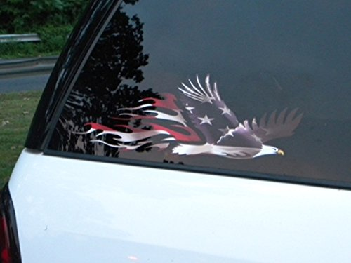 East Coast Vinyl Werkz Patriotic Flamed Eagle decal - 2 piece set - American Flag USA