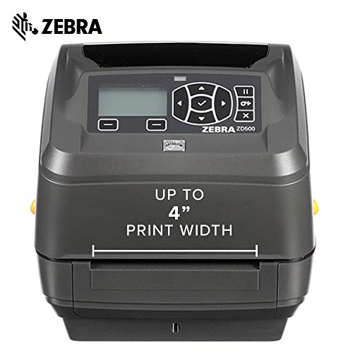 Zebra - ZD500t Thermal Transfer Desktop Printer for Labels and Barcodes - Print Width 4 in - 300 dpi - Interface: Ethernet, Parallel, Serial, USB - ZD50043-T01200FZ by Zebra Technologies (Image #2)