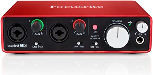 Focusrite Scarlett 2i2 (2nd Gen) USB Audio Interface with Pro Tools  First, Red, 2i2 - 2 Mic Pres (Bit Instrument 24 Digital)