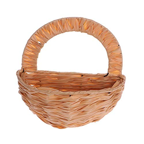 Poooyun-Life Eco-Friendly Natural Flower Basket Wall Hanging Plant Pot Holder Planter Rattan Vase Decor,Khaki]()