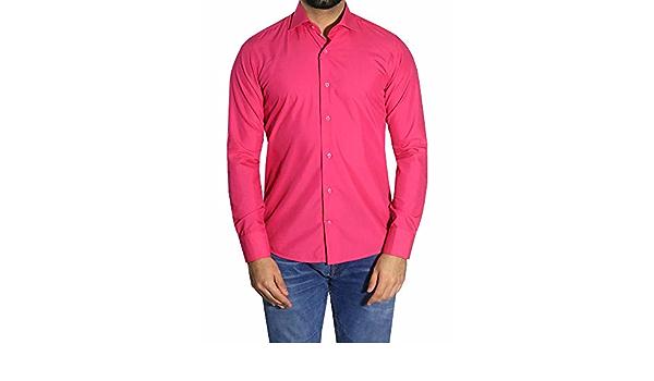 MUGA Hombre Camisas Extra Entallado, Color Fucsia, tamaños S ...