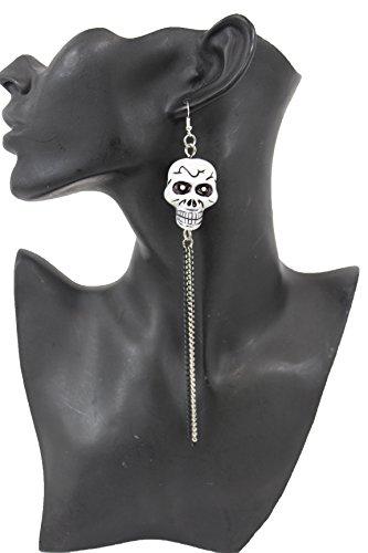 TFJ Women Fashion Hook Earrings Set Long Silver Black Metal Chains Fringes White Skeleton Pirate Skull