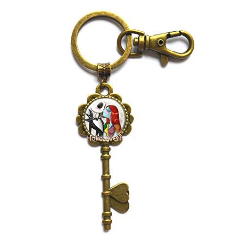 Jack and Sally Christmas Key Keychain Glass Crystal Key Keychain Jewelry,Love Gift for Friend Wife Romantic Jack Skellington.HTY-338