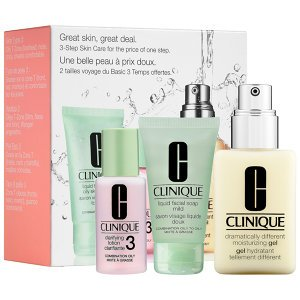 Great Skin 3-Step Skin Care System - Combination Oily Skin Clinique 1oz Liquid Facial Soap Oily Skin, 1oz Clarifying Lotion - # 3, 4.2oz Dramatically Different Moisturizing Gel With Pump 3 Pc Kit Unisex