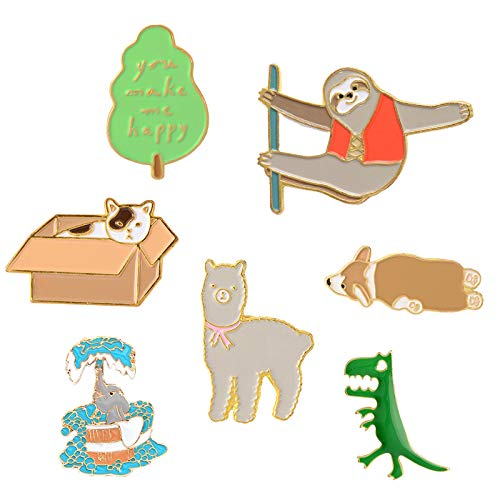 Pibupibu Women Teens Girls Cute Enamel Badge Brooches Pins Set for Clothes Bag Jacket Backpack Hat Costume Accessories Decoration (Animals Make Me Happy)]()