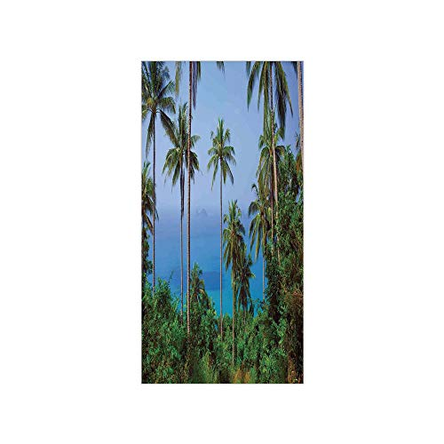 (3D Decorative Film Privacy Window Film No Glue,Palm Tree Decor,Ocean Scene from Jungle Tropical Beauty Natural Paradise in Nature Theme,Blue Green,for)