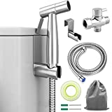 ADVcer Bidet Sprayer Attachment Kit - Pressure Adjustable T-valve, Brushed Stainless Steel Hand Held Bidets Shattaf, 46.2'' Metal Hose, Side Hook Holder for Bathroom, Toilet, Water Sink or Cloth Diaper