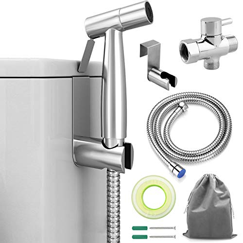 ADVcer Bidet Sprayer Attachment Kit - Pressure Adjustable T-valve, Brushed Stainless Steel Hand Held Bidets Shattaf, 46.2'' Metal Hose, Side Hook Holder for Bathroom, Toilet, Water Sink or Cloth Diaper by ADVcer