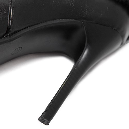VogueZone009 Damen Niedrig-Spitze Schließen Zehe Blend-Materialien Hoher Absatz Stiefel, Schwarz, 35.5 EU