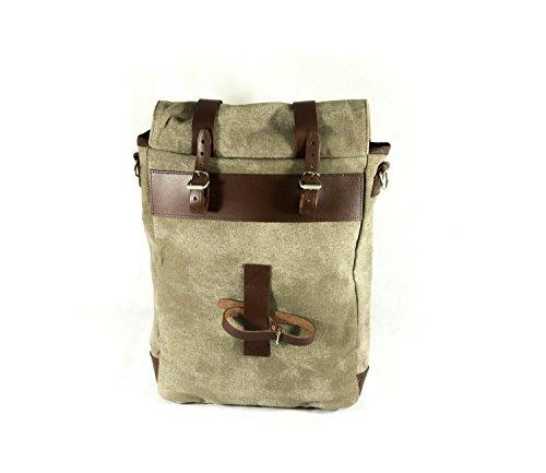 CANVAS Bike Bag fahrrad tasche. Gepäckträger. Fahrradgepäcktasche. Satteltasche, Fahrradtasche. Weinlese. Echtes Leder / Vero CUOIO. Farbe Braun. MADE IN ITALY (CVS_SING_135_M)