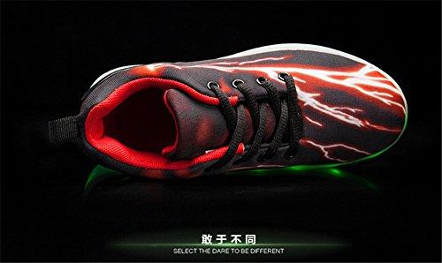 7 Lights New LED Lightning Orange Shoes Sneakers up USB Kids Color 02 Shoes Light Charging 1wtq4