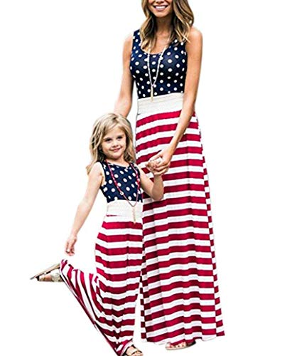 4th of July Mommy and Me American Flag Striped Dot Patchwork Long Maxi Dress Beach Sleeveless Tank Dress (2-3T, -