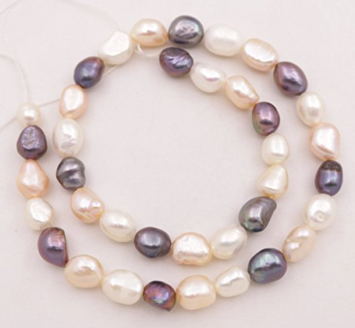 14 inches long real white pink black baroque pearl 8-10mm loose beads jewelry making