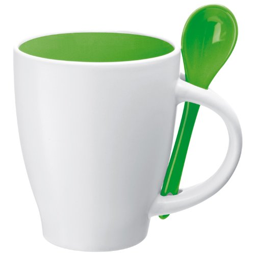 2 opinioni per Tazza mug colazione in porcellana con cucchiaio e interno colorato