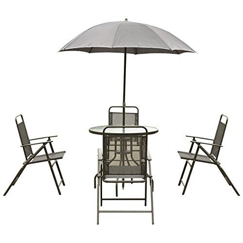 Giantex 6 pcs patio garden set furniture umbrella gray for Patio table chairs umbrella set