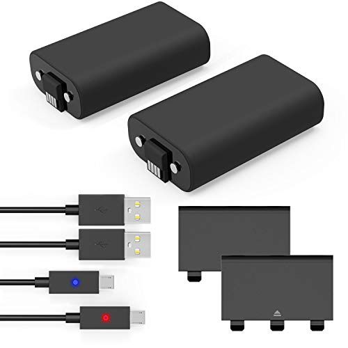 Battery Pack, YTEAM® Xbox One Play and Charge Kit, 2x1200mAh Rechargeable Battery Twin Pack for Xbox One with 5Ft/1.5M Micro USB Charging Cable for Xbox One / One S / One X Control ()
