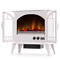 Jasper Free Standing Electric Fireplace Stove - 25 Inch Portable Electric Vintage Fireplace with Realistic Fire and Logs. Adjustable 1500W 400 Square Feet Space Heater Fan