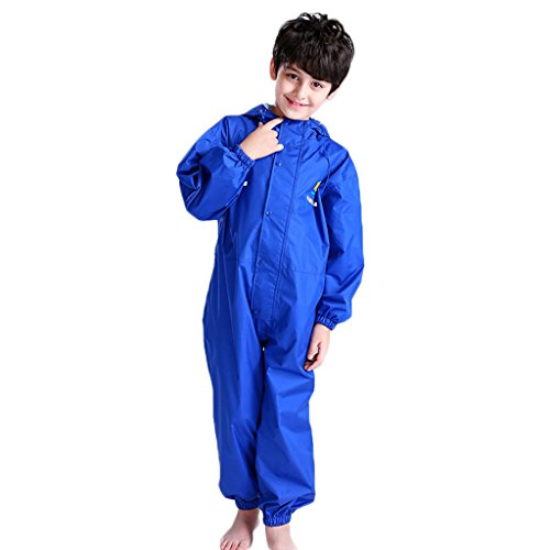 JiAmy Kids Baby One Piece Rain Suit Waterproof Coverall with Hood Jumpsuit 6-7 Years