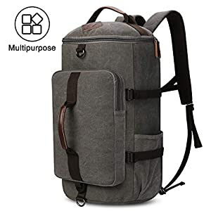 Large Canvas Backpack, Yousu Man Vintage Backpack Rucksack Outdoor Traveling Duffel Backpack Bag Classic Travel Multi Functional School Bookbag 3-In-1 Grey