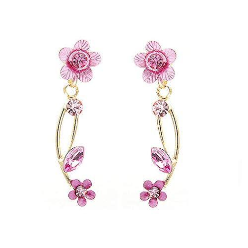 Glamorousky Pink Flower Shape Golden Earrings with Pink Austrian Element Crystals 831