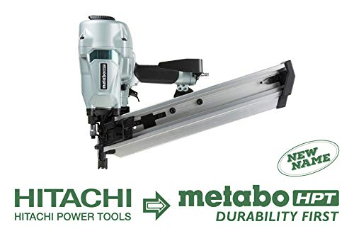 Metabo HPT NR90AC5 Pneumatic Framing Nailer for LVL, 2-3/8″ to 3-1/2″ Plastic Collated Framing Nails, 0.162″, Full Head, 21 Degree