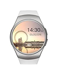 KW18 Bluetooth Smart Watch Sim And TF Card Heart Rate Reloj Smartwatch Wearable Compatible For Android Smartphones and IOS Apple iPhone(White with silver)