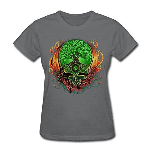 [LANFENG Women's Grateful Dead Celtic Knot Tree Of Life T-shirt Size XL DeepHeather] (Grateful Dead Celtic Knot)