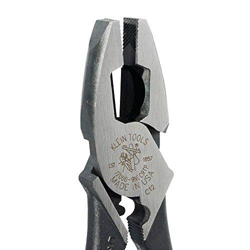 Alicate Linemans con cortador lateral, tirón de cinta y engarce de cables, alto apalancamiento, herramientas Klein de 9 pulgadas J2000-9NECRTP