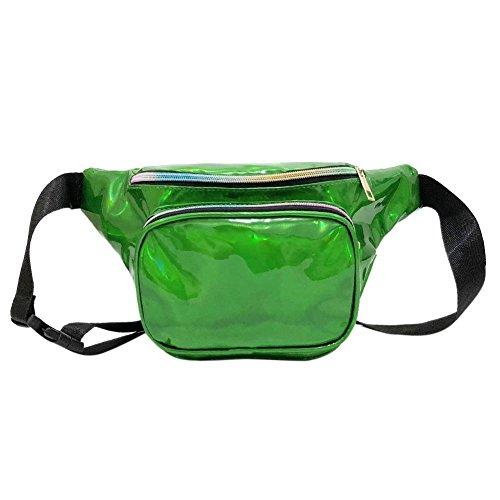Pack Pouch Shoulder Waist Green Zipper Bags Women Crossbody Chest Domybest p80Y8