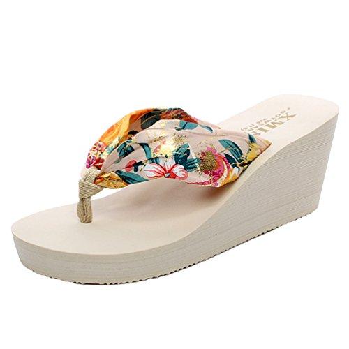 YOUJIA Mujeres Chanclas Verano Cuñas Zapatos de playa Satín Boho Plataforma Zapatillas Estampado Beige Oro