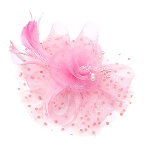 [Women Fascinators Hair Clip Veil Flower Cocktail Tea Party Headwear (Pink)] (Ganster Hat)