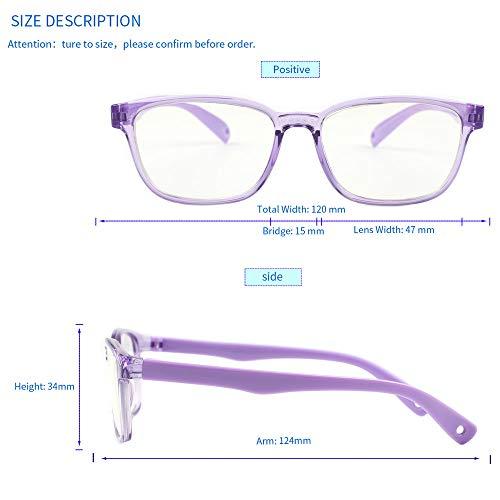 FaerieKing Blue Light Glasses for Kids Computer Gaming Glasses Screen R90 Square Frame Anti Eye Strain UV Glare Boys Girls Age 2-6 (Clear Purple 120mm)