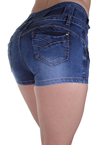 YM5032 - High Rise Colombian Style Stretch Denim, Butt Lift, Short Shorts in Washed Blue Size 7