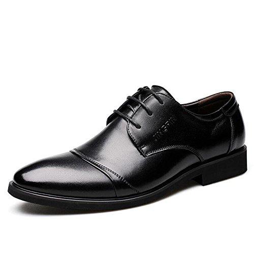 Scarpe da Uomo in Pelle Stringate Scarpe Eleganti da Lavoro Casual Scarpe da Punta Fashion Derby Smart Scarpe Nere Black