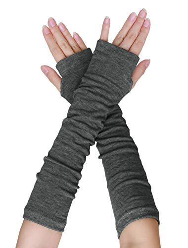 - uxcell Women Elbow Length Arm Warmer Gloves Thumbhole Fingerless 1 Pairs Dark Grey